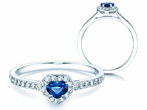 Verlovingsring Heart Saphir in 14K witgoud met saffier 0,25ct en diamanten 0,34ct