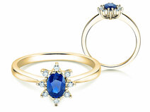 Verlovingsring Blue Star in 14K geelgoud met saffier 0,25ct en diamanten 0,06ct