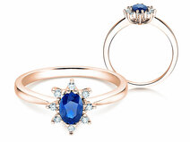 Verlovingsring Blue Star in 14K roségoud met saffier 0,25ct en diamanten 0,06ct