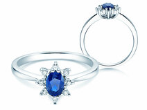 Verlovingsring Blue Star in 14K witgoud met saffier 0,25ct en diamanten 0,06ct