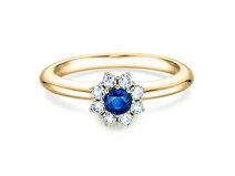 Verlovingsring Lovely in 14K geelgoud met saffier 0,10ct en diamanten 0,15ct