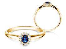 Verlovingsring Jolie in 18K geelgoud met saffier 0,25ct en diamanten 0,06ct