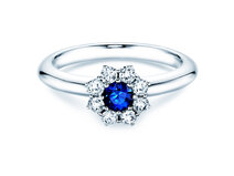 Verlovingsring Lovely in 14K witgoud met saffier 0,33ct en diamanten 0,40ct