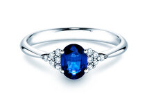Verlovingsring Glory in 14K witgoud met saffier 1,00ct en diamanten 0,12ct