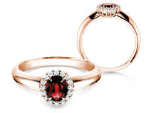 Verlovingsring Windsor in 14K roségoud met robijn 0,60ct en diamanten 0,12ct