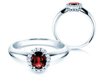 Verlovingsring Windsor in 14K witgoud met robijn 0,60ct en diamanten 0,12ct