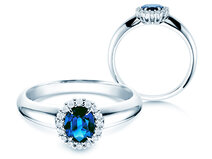 Verlovingsring Windsor in 14K witgoud met saffier 0,60ct en diamanten 0,12ct