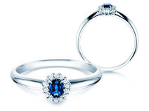 Verlovingsring Jolie in 14K witgoud met saffier 0,25ct en diamanten 0,06ct
